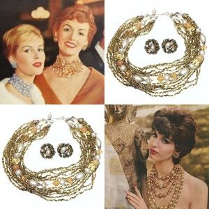 1960s Gold Glass Bead Choker Necklace + Earrings
